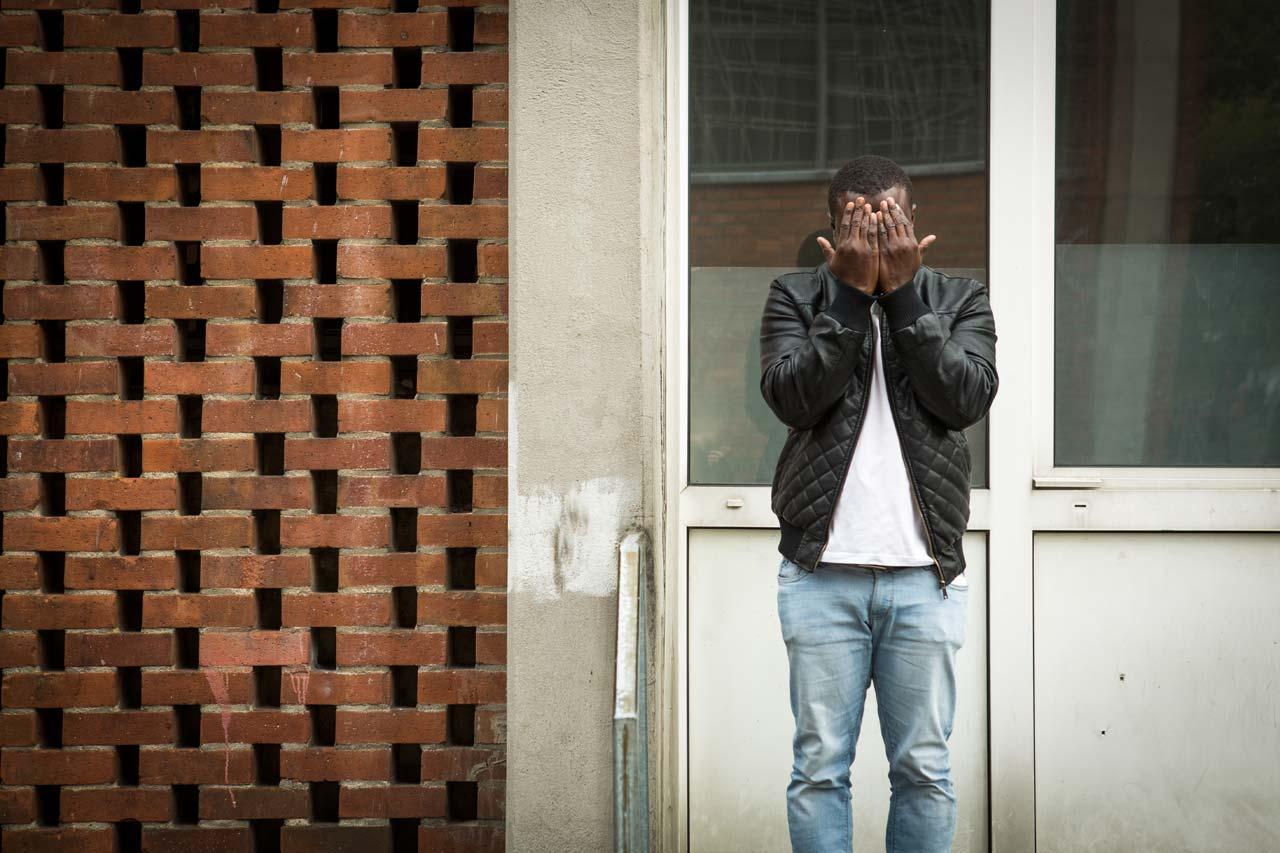 Heike Fischer porträtierte Geflüchtete in Köln. C. S., 32 Jahre alt, aus Guinea ist seit 11 Monaten in Deutschland. Foto: Heike Fischer