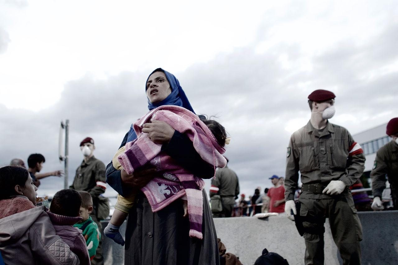 Flüchtlinge an Europas Grenzen, Heiligenkreuz, Österreich in der Nähe zur ungarischen Grenze. Foto: Mark Mühlhaus
