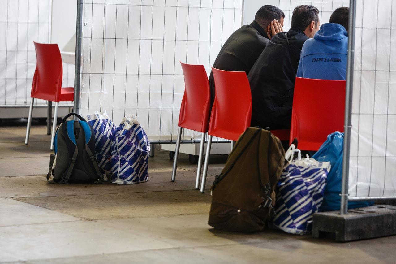 Zentrale Registrierungsstelle für Flüchtlinge am Flughafen Münster-Osnabrück. Foto: Rüdiger Wölk